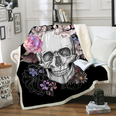 Sugar Skull Blanket Floral Roses Thin Quilt Fashionable Bedspread 130x150cm Fleece Throw Blanket - Dropshipful.com