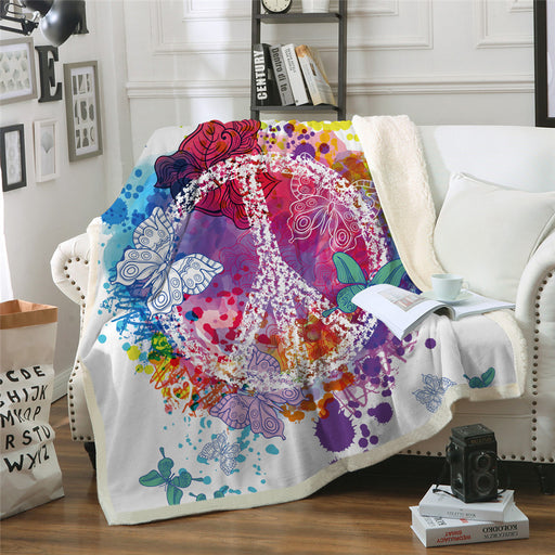 Watercolor Butterfly Velvet Plush Throw Blanket Colorful Sherpa Blanket - Dropshipful.com