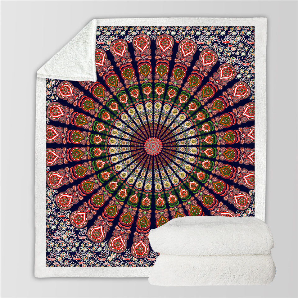 Orange Blue Mandala Floral Blanket Bohemian Flower Colorful Boho Bedding Throw Blanket - Dropshipful.com