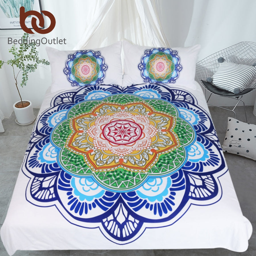 Dropshipful Mandala Bedding Set King Size Bohemian Bed Set for Adults Boho Flower Print Duvet Cover Colorful Home Textiles - Dropshipful.com