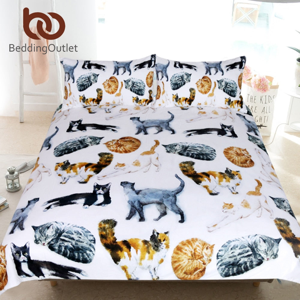 Dropshipful Cute Cats Bedding Set Single Queen Cartoon Bed Set for Kids Watercolor Pet Print Duvet Cover Animal Home Textiles - Dropshipful.com