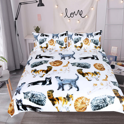 Dropship Cute Cats Bedding Set Cartoon Animal  Pet Print Duvet Cover 3Pcs - Dropshipful.com