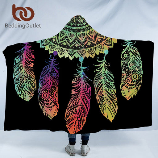 Dropshipful Bohemian Hooded Blanket for Adults Mandala Dreamcatcher Sherpa Fleece Woman Throw Blanket Microfiber 127cmx152cm - Dropshipful.com