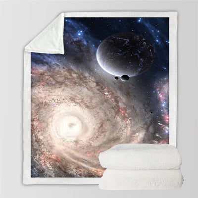 Amazing Galaxy Sherpa Blanket Universe Print Plush Throw Beds Blanket Sofa - Dropshipful.com