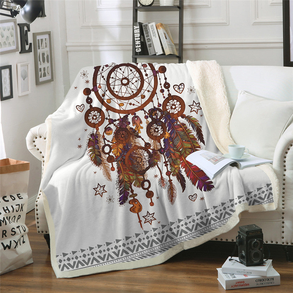 Boho Dreamcatcher Feathers Throw Blanket Hipster Watercolor Sherpa Blanket for Couch - Dropshipful.com