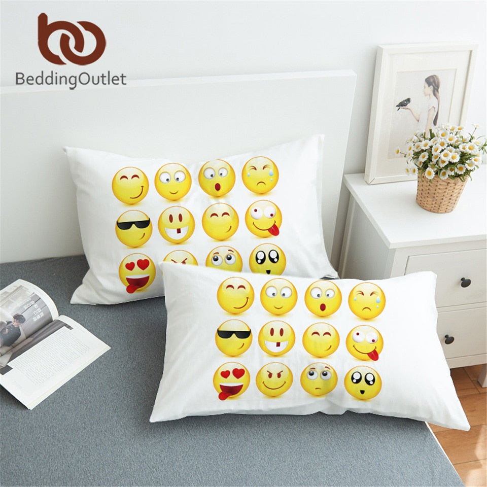 Dropshipful Emoticons Cartoon Pillow Case Cover Cute and Comfortable Bedclothes Smiley Face Printed Pillowcase 2Pcs 50cmx75cm - Dropshipful.com