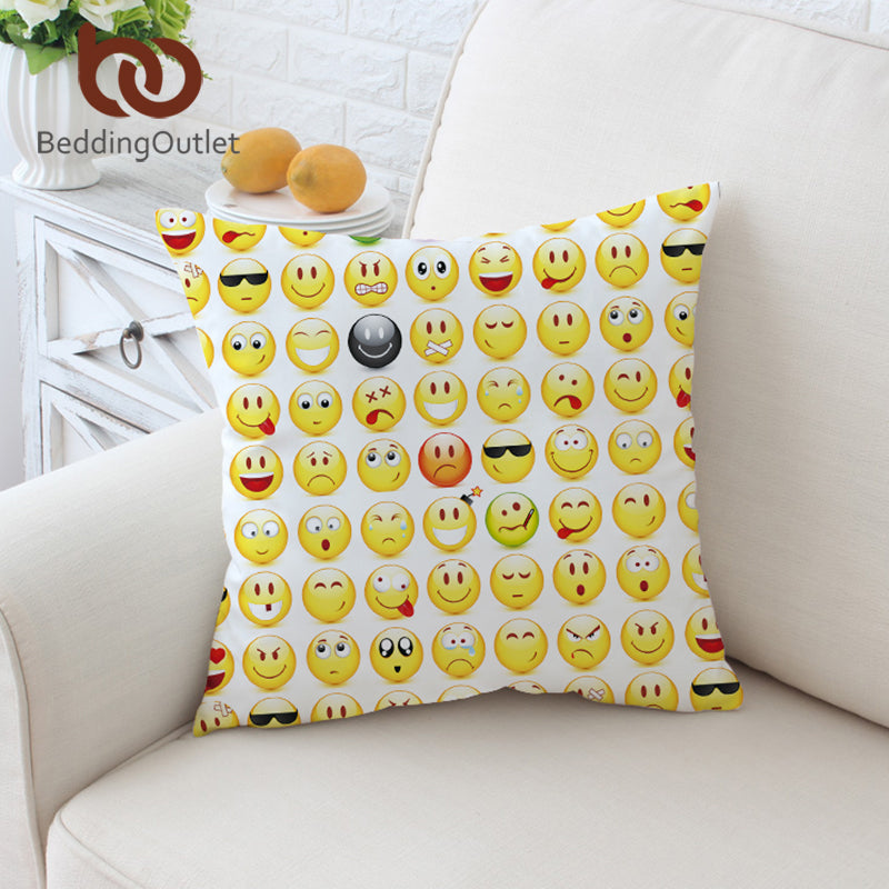 Dropshipful Smiley Faces Cushion Cover Cute Fashion Pillow Case for Kids Throw Cover Cartoon Decorative Pillow Cover 45x45cm - Dropshipful.com