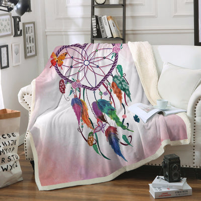 Dreamcatcher Throw Blanket Heart Shape Boho Sherpa Fleece Blanket Cozy  Watercolor Blanket - Dropshipful.com