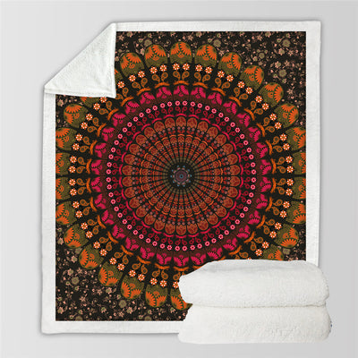 Mandala Floral Throw Blanket Bohemia Boho Sherpa Fleece Blanket - Dropshipful.com