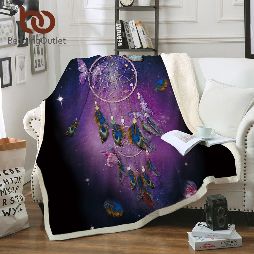 Dropshipful Dreamcatcher Sherpa Blanket for Beds Velvet Plush Butterfly Purple Throw Blanket Romantic Throw Bedding 1pc manta - Dropshipful.com