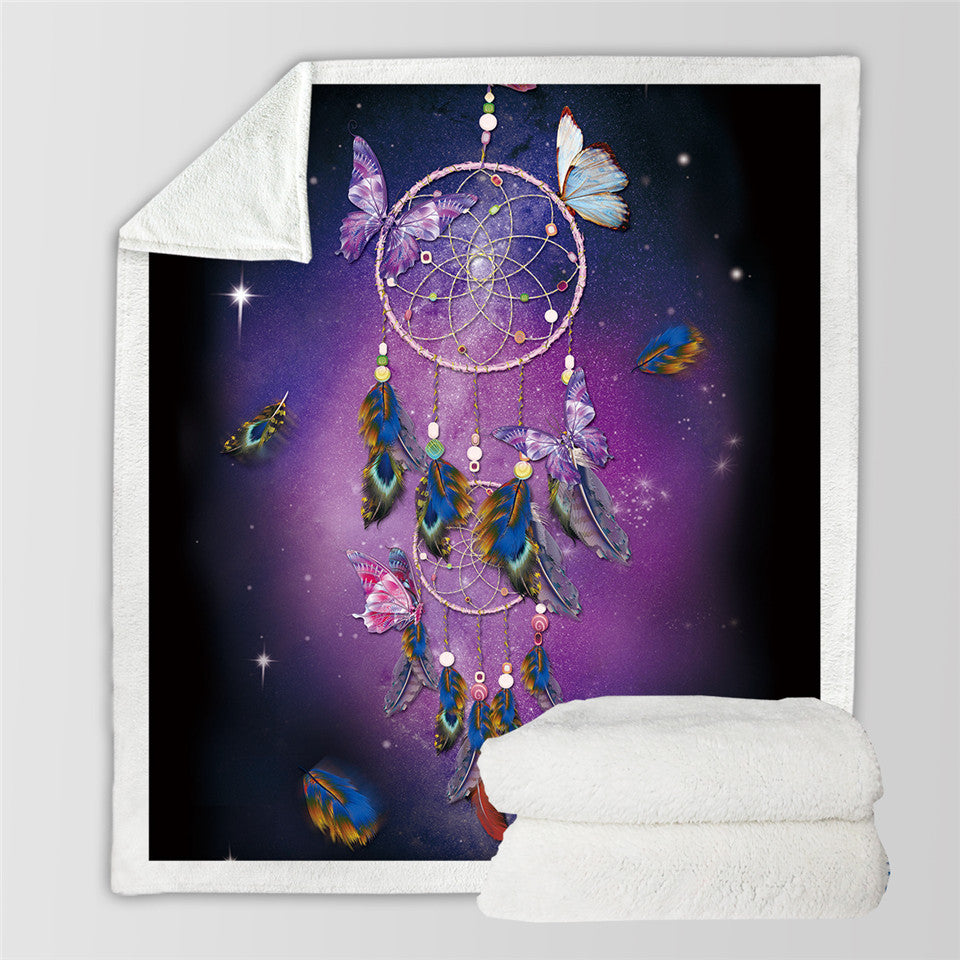 Dreamcatcher Sherpa Blanket for Beds Velvet Plush Butterfly Purple Throw Blanket - Dropshipful.com