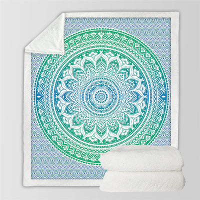 Mandala Flower Sherpa Blanket for Beds Velvet Plush Bohemia Floral Throw Blanket Blue and Green - Dropshipful.com
