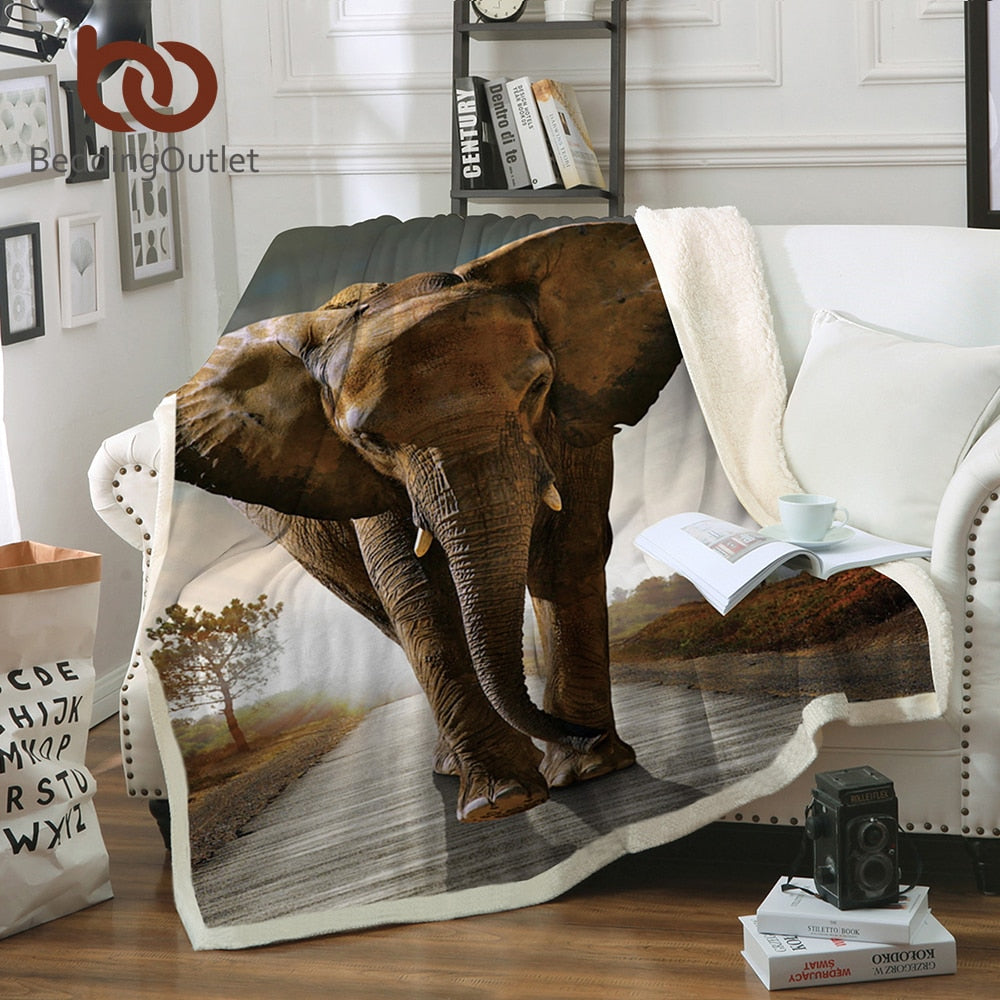 Dropshipful 3d Elephant Throw Blanket Indian Bedclothes Sherpa Fleece Plush Blanket for Beds Animal cobertor para inverno - Dropshipful.com