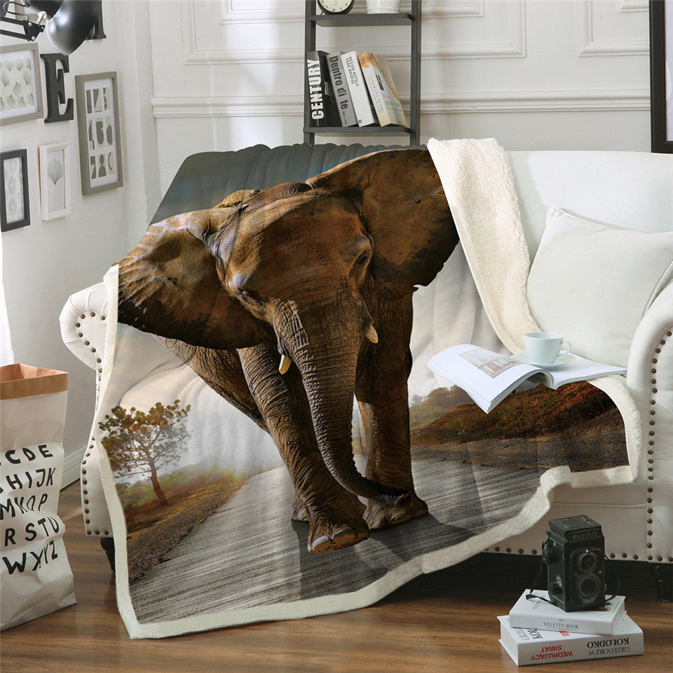 Animal 3d Elephant Throw Blanket Indian Bedclothes Sherpa Fleece Plush Blanket - Dropshipful.com