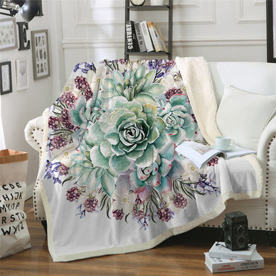 Green Succulents Throw Blanket Mandala 3D Sherpa Fleece Bedding Velvet Plush Flower Plant Blanket - Dropshipful.com