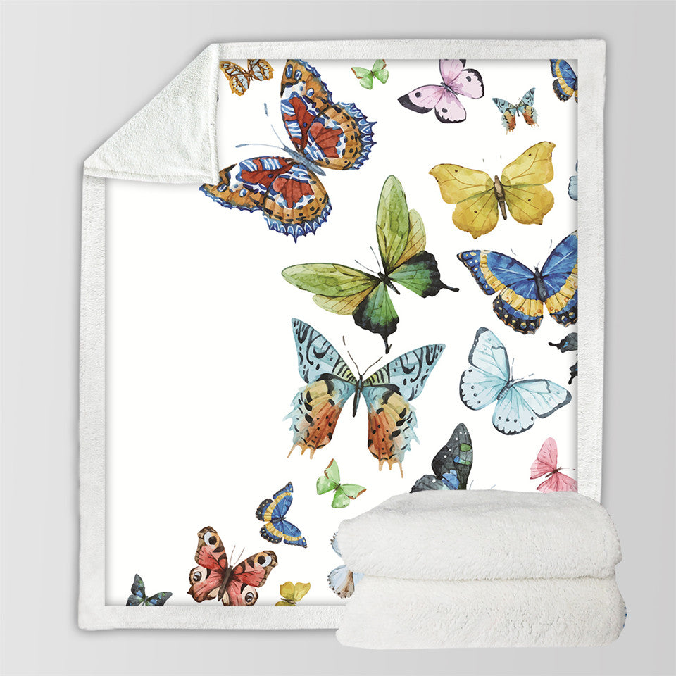 Flying Butterflies Sherpa Blanket for Beds Butterfly Plush Throw Blanket - Dropshipful.com