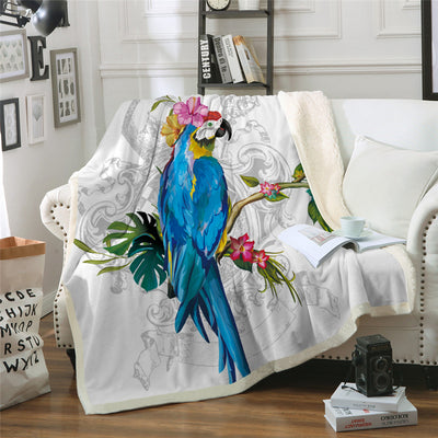 Macaw Art Throw Blanket Bird Morning Glories Bedclothes Sherpa Fleece Plush Beds Sofa Blanket - Dropshipful.com
