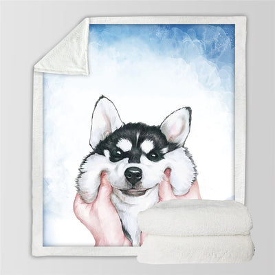 Cartoon Husky Puppy Sherpa Blanket for Beds Watercolor Plush Throw Blanket - Dropshipful.com