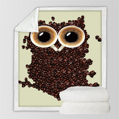 Animal 3D Cute Owl Velvet Plush Throw Blanket Coffee Beans Sherpa Blanket - Dropshipful.com