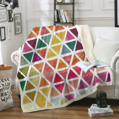 Colorful Watercolor Sherpa Blanket for Beds Velvet Plush Geometric Throw Blanket Girls - Dropshipful.com