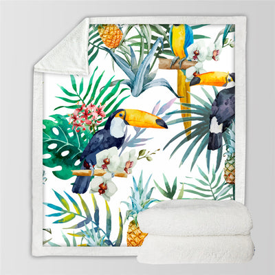 Toucan Birds Sherpa Blanket Tropical Plant PineappleVelvet Plush Throw Blanket - Dropshipful.com