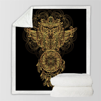 Golden Owl Throw Blanket Bohemian Dreamcatcher Bedding Animal Print Soft Sherpa Fleece Blankets - Dropshipful.com