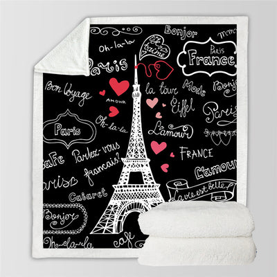 Paris Tower Throw Blanket on the Bed Romantic Letters Sherpa Fleece Blanket Heart - Dropshipful.com