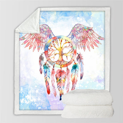 Dreamcatcher Sherpa Throw Blanket Angel Wings Bohemian Sherpa Fleece Blanket Cozy Velvet Plush - Dropshipful.com