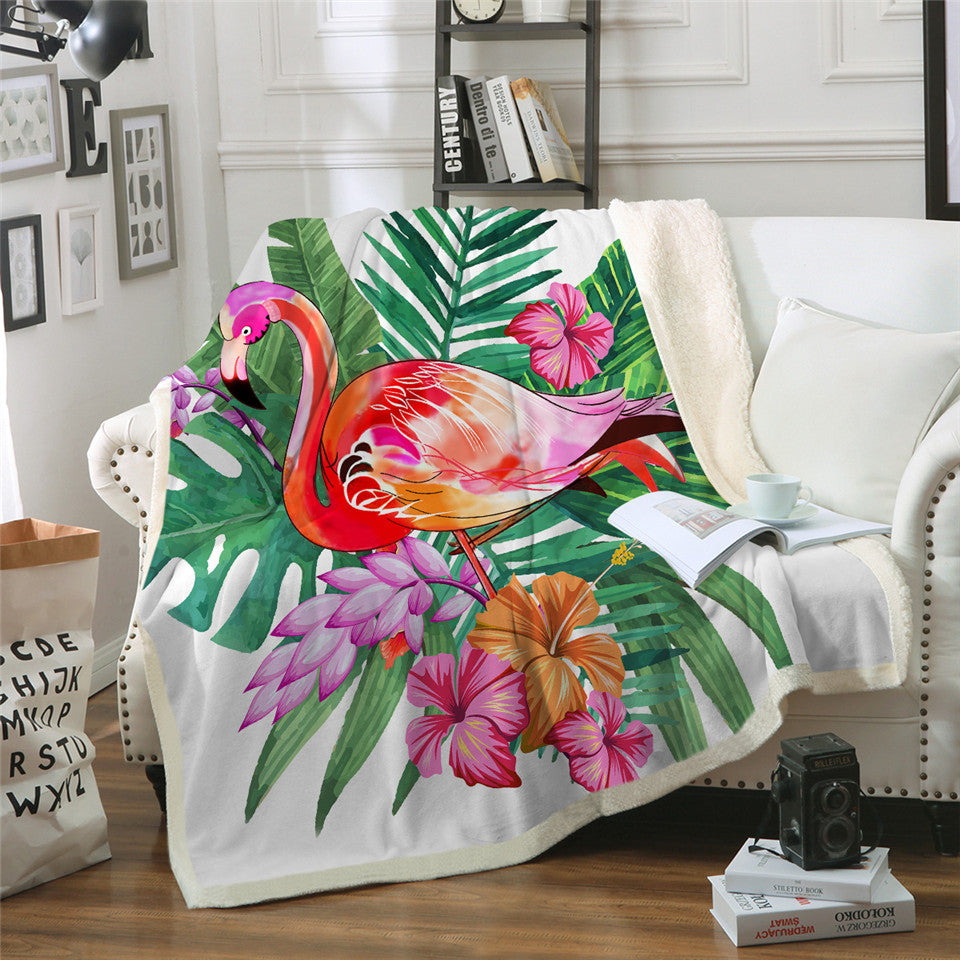Flamingo Flower Velvet Plush Throw Blanket Tropical Plant Girls Bedding Sherpa Blanket - Dropshipful.com