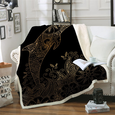 Golden Dolphin Throw Blanket Bohemian Boho Flower Bedding Animal Sherpa Blankets - Dropshipful.com