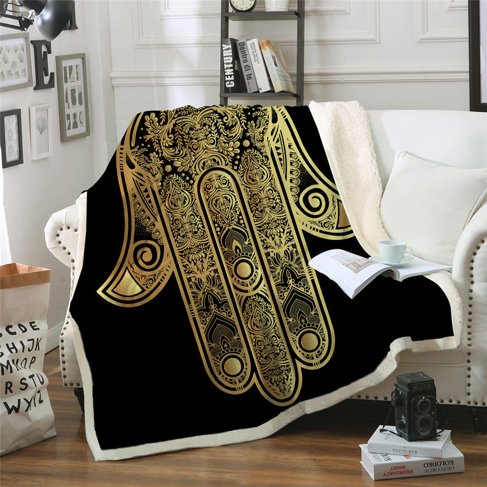 Indian Hamsa Hand Throw Blanket Vintage Boho Sherpa Fleece Blanket Velvet Plush Sofa Plaid - Dropshipful.com