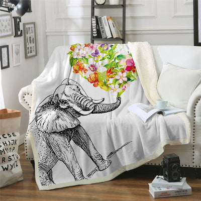 Indian Elephant Throw Blanket Bohemia Flower Bedspreads Colorful Floral Bed Blankets - Dropshipful.com