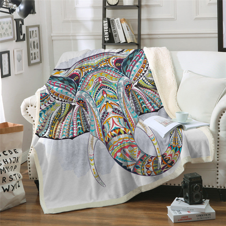 Colorful Indian 3D Elephant Sherpa Throw Blanket Bohemia Stripes - Dropshipful.com