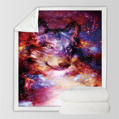 Galaxy Throw Blanket on the Bed Wolf Colorful Sherpa Fleece Blanket Velvet Plush - Dropshipful.com
