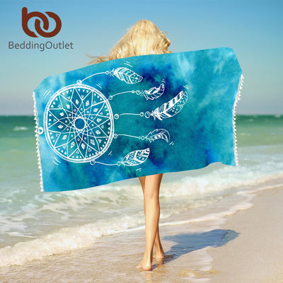 Dropshipful Watercolor Dreamcatcher Bath Towel With Tassels Microfiber Beach Towel Blue and Pink Rectangle Bikini Cover-Up Mat - Dropshipful.com
