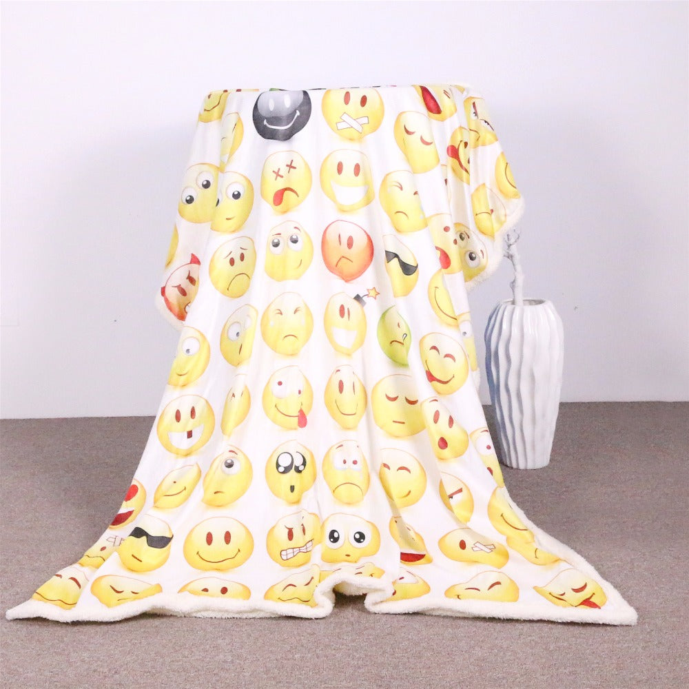Dropshipful Sherpa Fleece Throw Blanket Smiley Face Bed Blankets for Young People Soft Cozy Crystal Velvet Plush Throw Blanket - Dropshipful.com