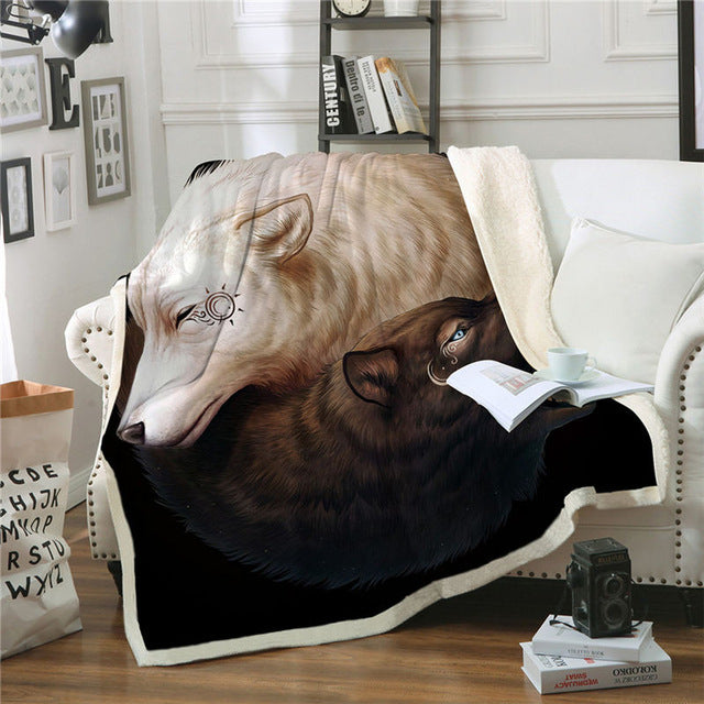 Yin and Yang Wolves by JoJosArt Throw Blanket Black and White Thin Quilt Animal 130x150cm Sherpa Fleece Beds Blanket manta - Dropshipful.com