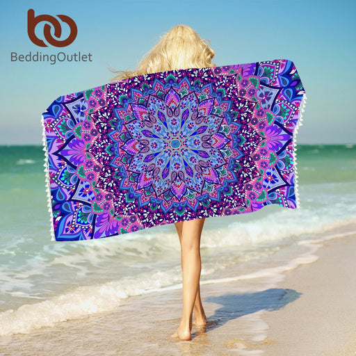 Dropshipful Bohemian Mandala Bath Towel With Tassels Microfiber Beach Towel Blue and Purple Rectangle Yoga Mat 75cmx150cm - Dropshipful.com