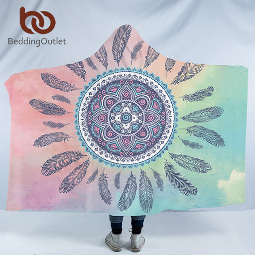 Dropshipful Mandala Hooded Blanket for Adults Kids Pink Blue Sherpa Fleece Woman Throw Blanket Microfiber Bohemian on the Sofa - Dropshipful.com