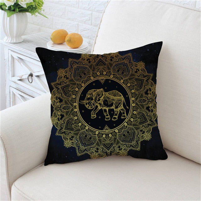 Dropshipful Golden Mandala Cushion Cover Star Moon Pillowcase Sofa Golden Throw Cover Flowers Bohemian Decorative Pillow Cover - Dropshipful.com