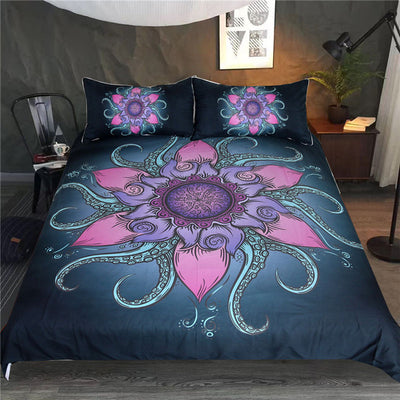 Dropshipful Octopus Bedding Set Floral Microfiber Duvet Cover Queen Ethnic Mandala Flower Bedspread Exotic 3Pcs Nautical Ocean - Dropshipful.com