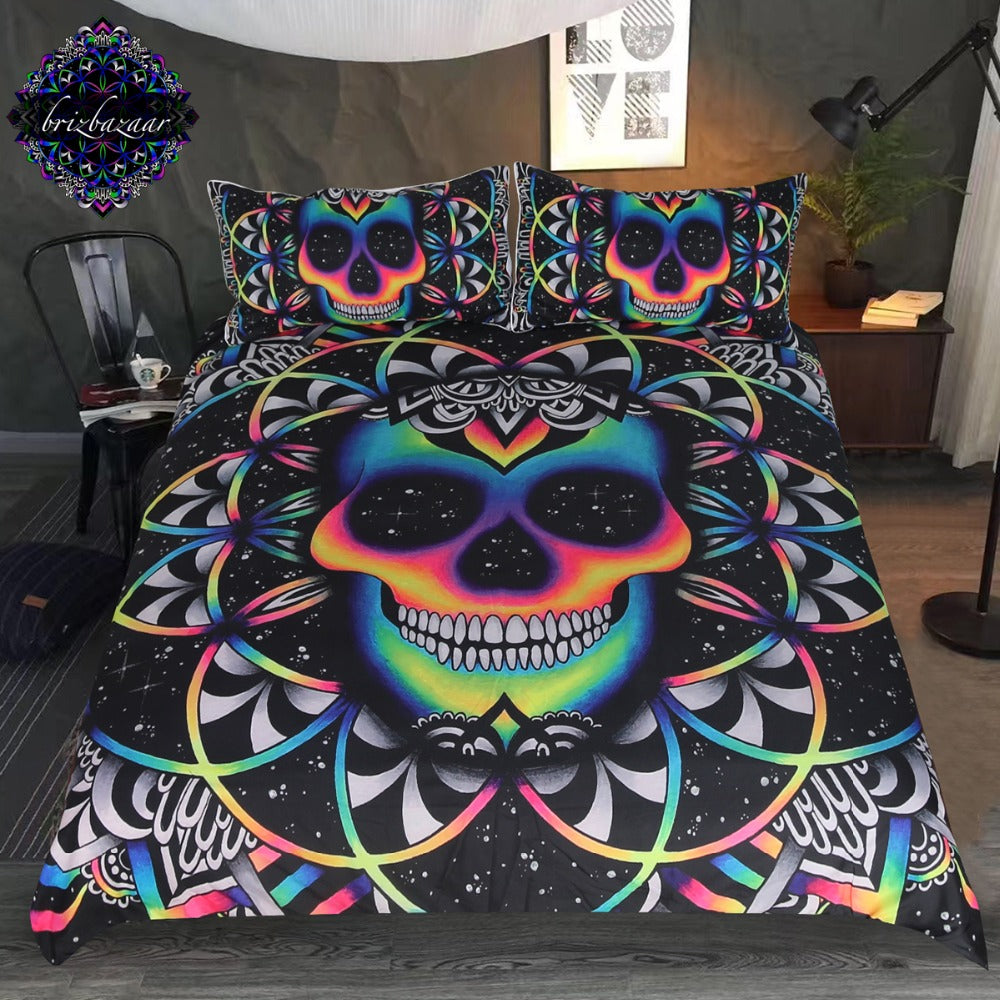 Dropshipful Chaos By Brizbazaar Bedding Set  Colorful Skull Duvet Cover Galaxy Mandala 3-Piece - Dropshipful.com