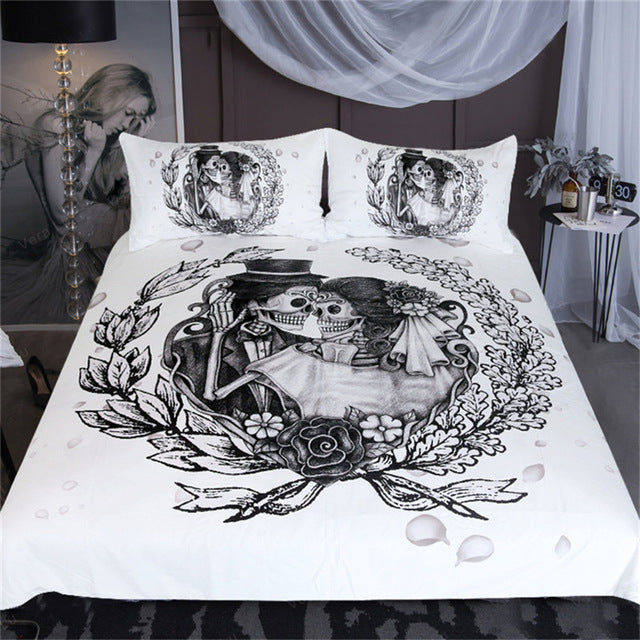 Dropshipful Skull Floral Bedding Set Queen Wedding Dress Duvet Cover 3pcs - Dropshipful.com