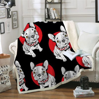 Bulldog Blanket Black and Red Cartoon Plush Throw Blanket on Sofa Bed Sherpa Blanket - Dropshipful.com