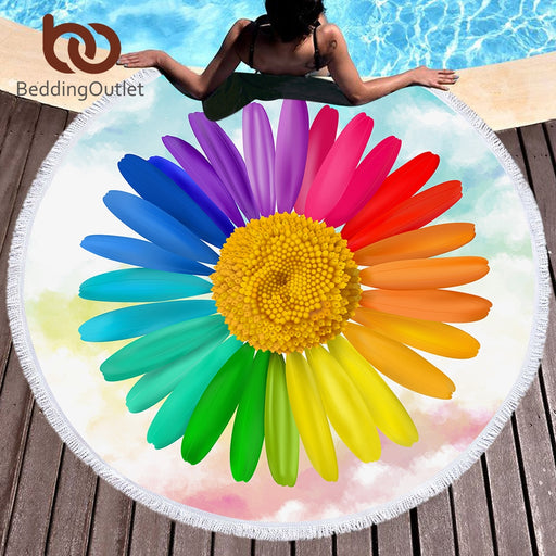 Dropshipful 3D Flower Large Round Beach Towel for Woman Rainbow Colors Floral Blanket Microfiber Yoga Mat 150cm Tassel Toalla - Dropshipful.com