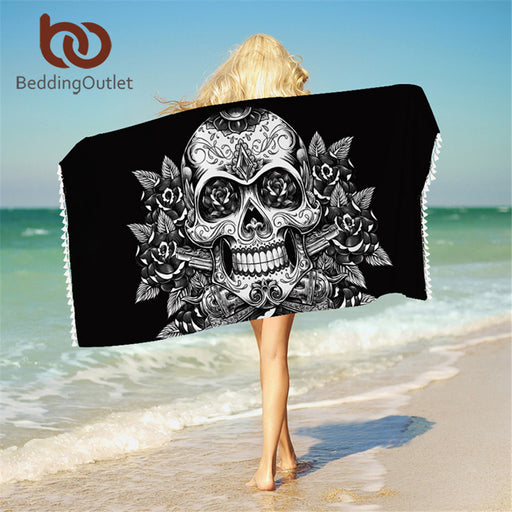 Dropshipful Sugar Skull Bath Towel With Tassels Microfiber Vintage Beach Towel Red White Rectangle Floral Yoga Mat 75x150cm - Dropshipful.com