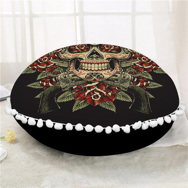 Dropshipful Sugar Skull Round Floor Pillow Case Vintage Cushion Cover Poufs Flower Decorative Pillowcase Pillow Cover For Sofa - Dropshipful.com