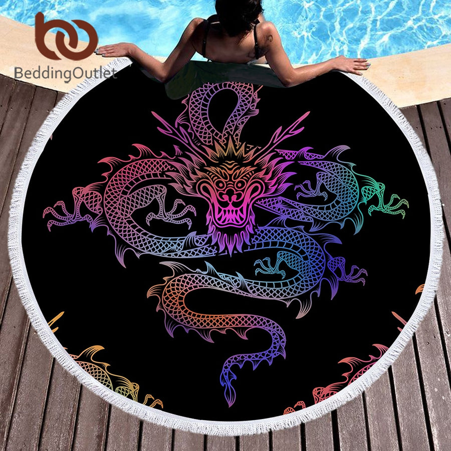 Dropshipful Dragon Totem Large Round Beach Towel for Adults Colorful Blanket Microfiber Yoga Mat 150cm Toalla With Tassels - Dropshipful.com
