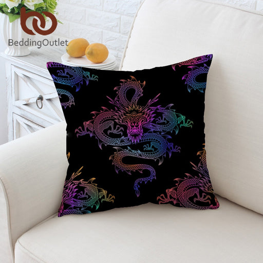 Dropshipful Dragon Totem Cushion Cover Colorful Printed Pillowcase Black Throw Cover Chinese Element Decorative Pillow Cover - Dropshipful.com