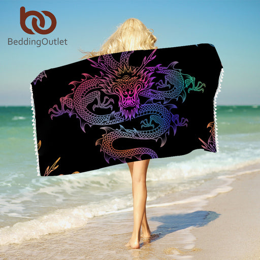 Dropshipful Dragon Totem Towel With Tassels For Bathroom Microfiber Colorful Chinese Beach Towel Rectangle Woman Blanket - Dropshipful.com